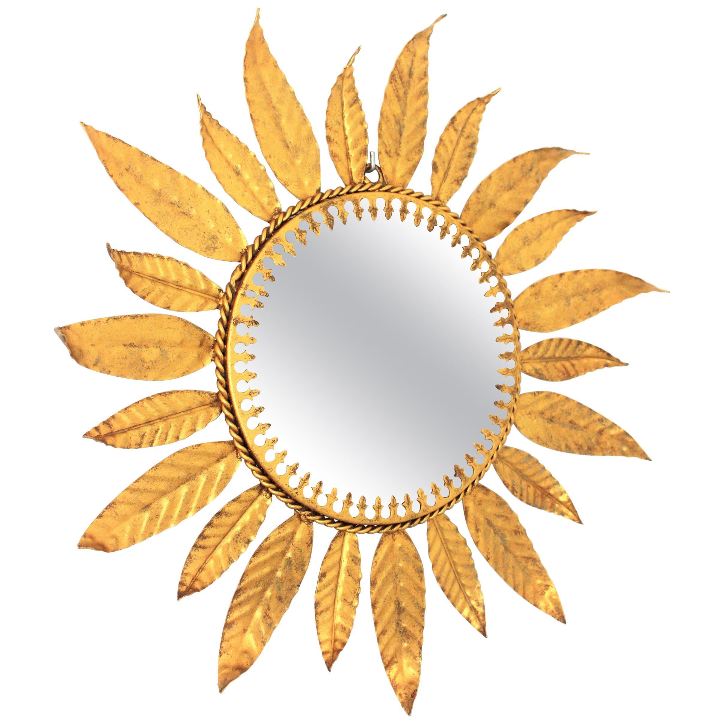 Sunburst Leaves Gilt Metal Mirror, Spain, 1960s