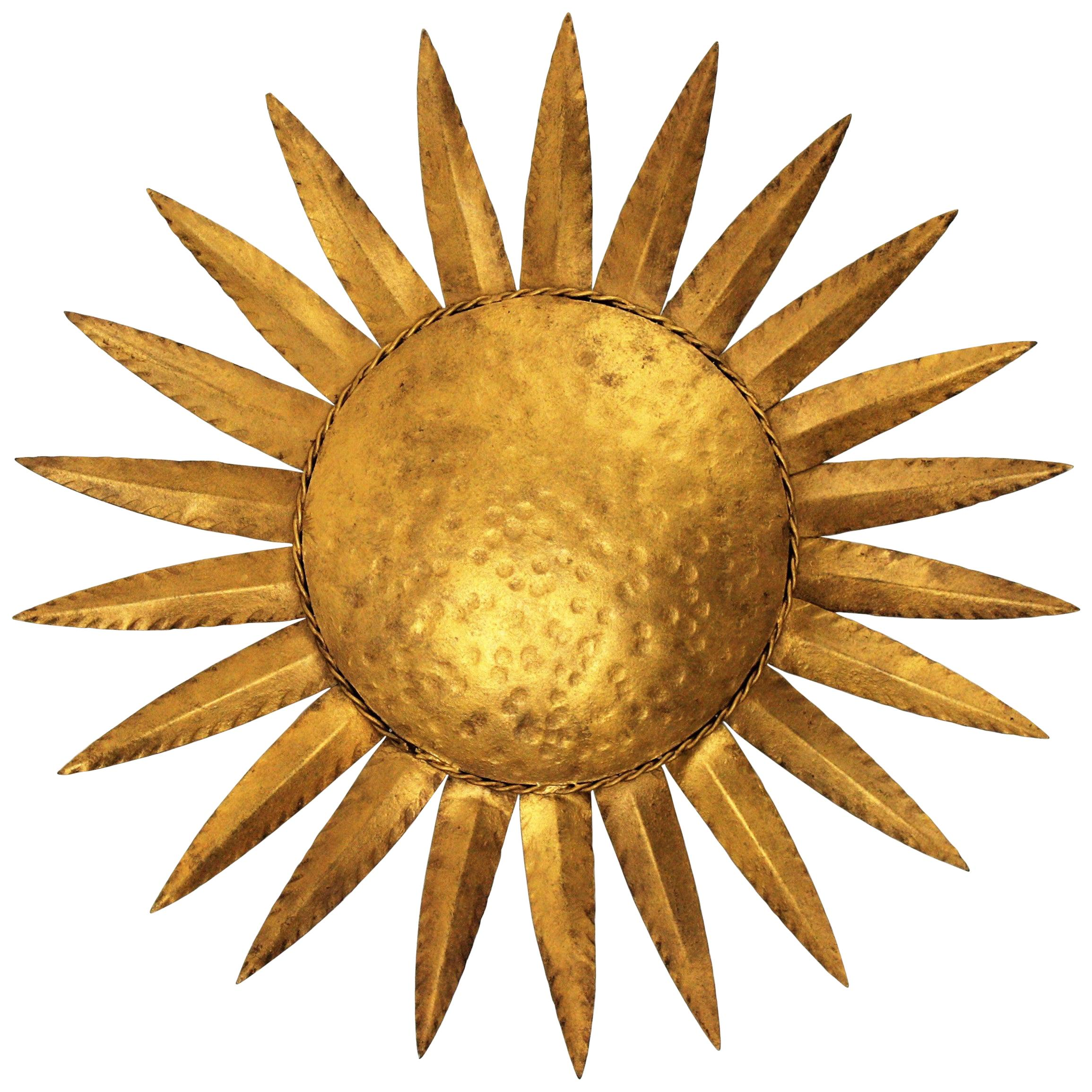 Sunburst Light Fixture in Gilt Iron, 1960s