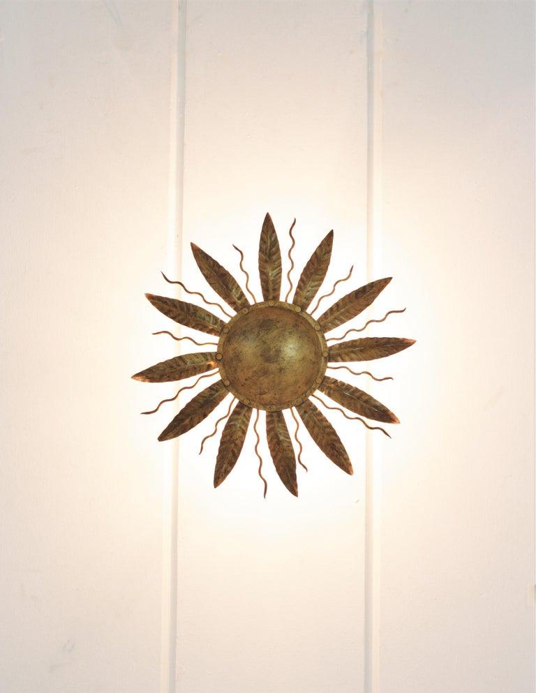 Sunburst Light Fixture in Gilt Metal, 1960s 8
