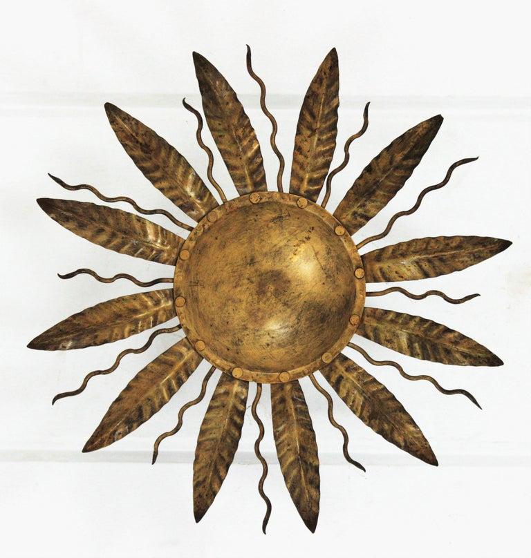 Spanish Sunburst Light Fixture in Gilt Metal, 1960s