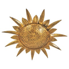 Sunburst Light Fixture in Gilt Metal, 1960s