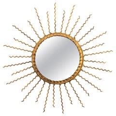 Sunburst Light Fixture or Sunburst Mirror in Gilt Iron, 1950s