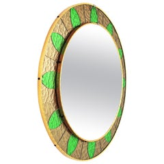 Sunburst Mirror Framed by Bronze and Green Glasses