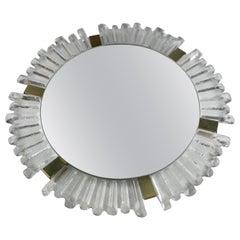 Sunburst Mirror Frosted Glass with Brass, Austria, 1950