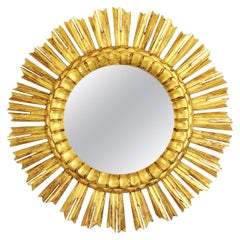 Sunburst Mirror in Carved Giltwood in Baroque Style, France, 1930s