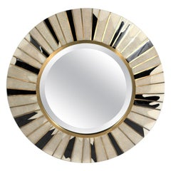 Sunburst Mirror in Cream Shagreen, Shell & Bronze-Patina Brass by R & Y Augousti