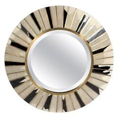 Sunburst Mirror in Cream Shagreen, Shell & Bronze-Patina Brass by R & Y Augousti