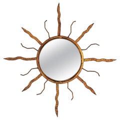 Sunburst Mirror in Gilt Iron in the Style of Poillerat