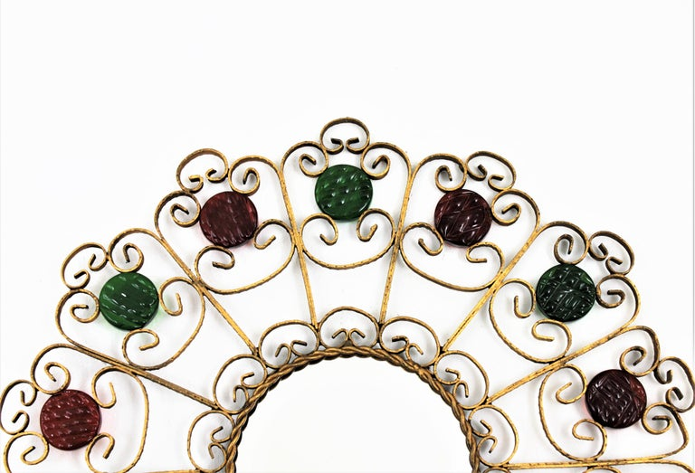 Spanish Sunburst Mirror in Gilt Iron with Colorful Glasses For Sale