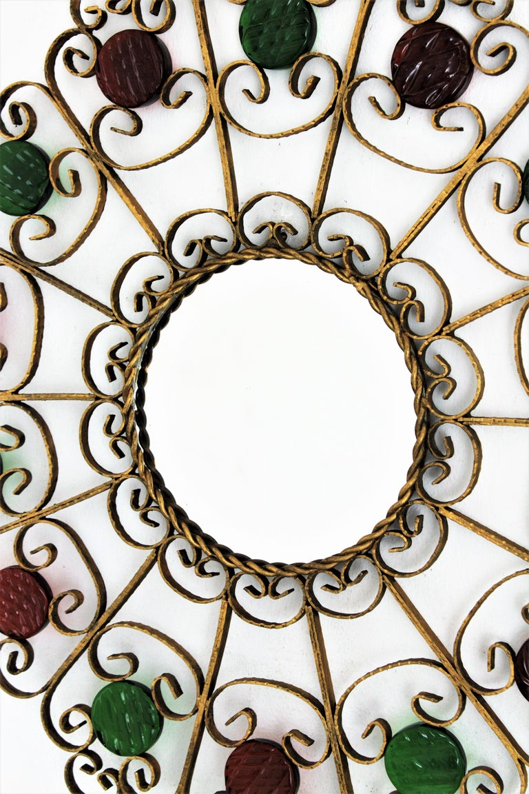20th Century Sunburst Mirror in Gilt Iron with Colorful Glasses For Sale