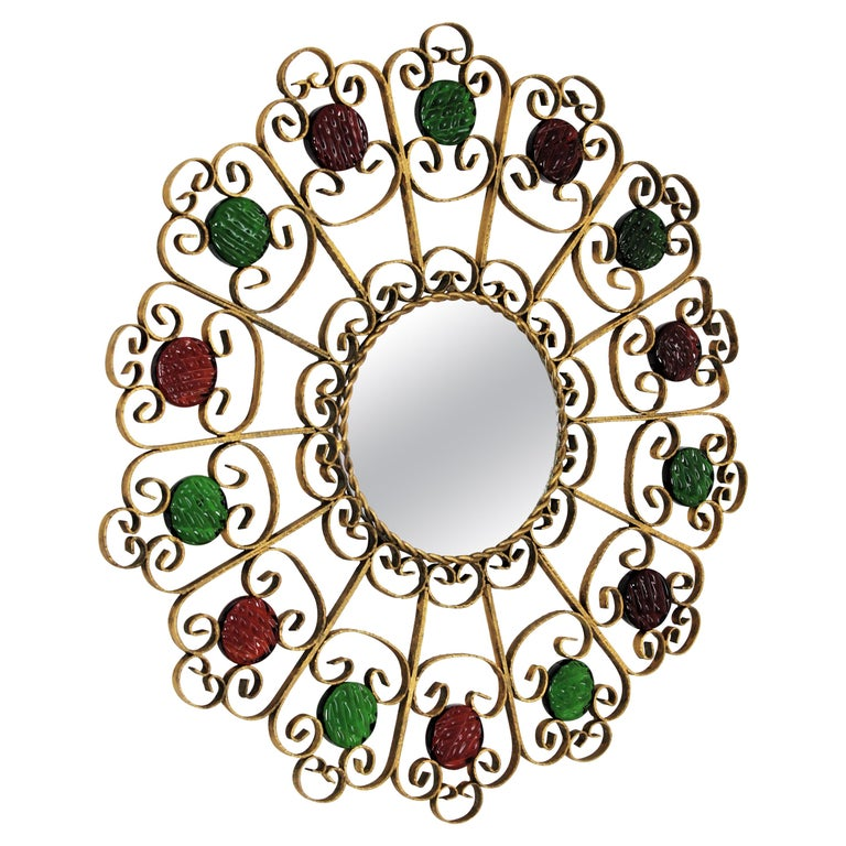 Sunburst Mirror in Gilt Iron with Colorful Glasses For Sale