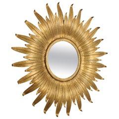 Sunburst Mirror in Gilt Iron with Leafed Frame, Spain, 1950s