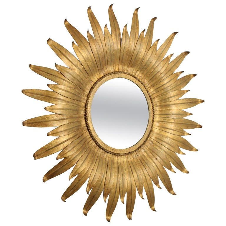Sunburst Mirror in Gilt Iron with Leafed Frame, Spain, 1950s For Sale