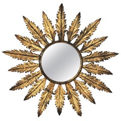 Sunburst Mirror in Gilt Metal with Leaf Design, Spain, 1950s