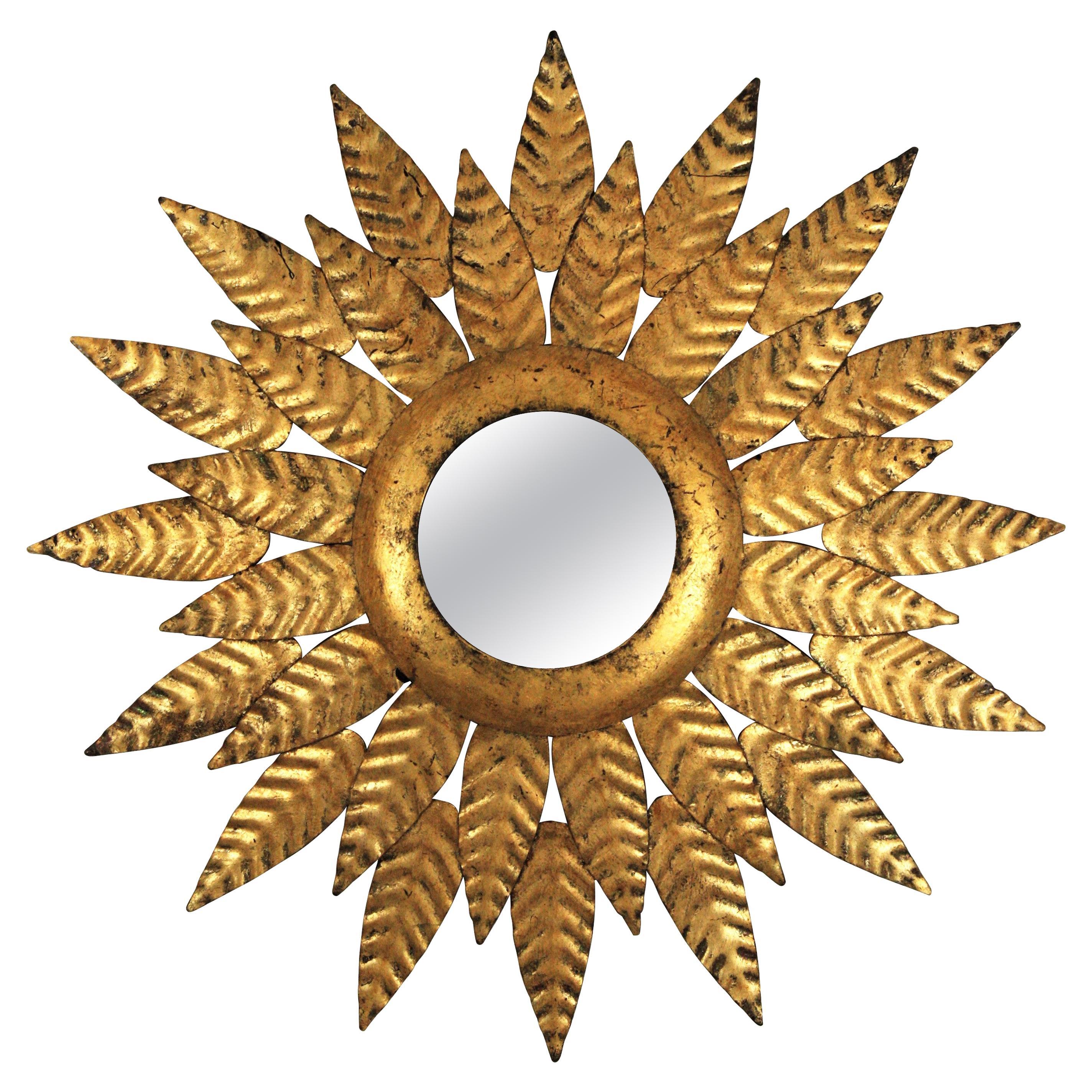 Sunburst Mirror in Gold Leaf Gilt Iron, 1950s
