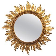 Sunburst Mirror in Gold Leaf Giltwood