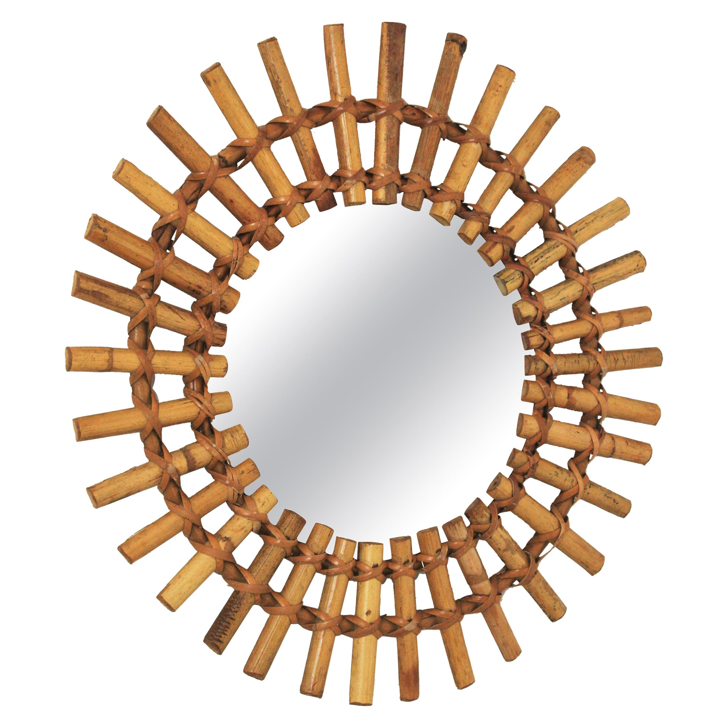 Sunburst Mirror in Rattan and Bamboo, France, 1950s