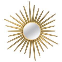 Sunburst Mirror in the Style of Vallauris French Mid-Century Modern Wall Mirror