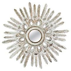 Sunburst Mirror in White Patinated Giltwood, Spanish Baroque