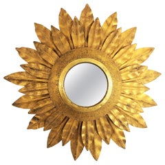 Sunburst Mirror Miniature in Gilt Metal