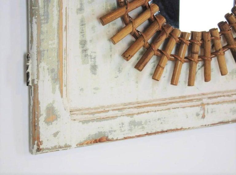 Sunburst Mirror on an Antique Door with Original Patina / Trumeau Mirror For Sale 3