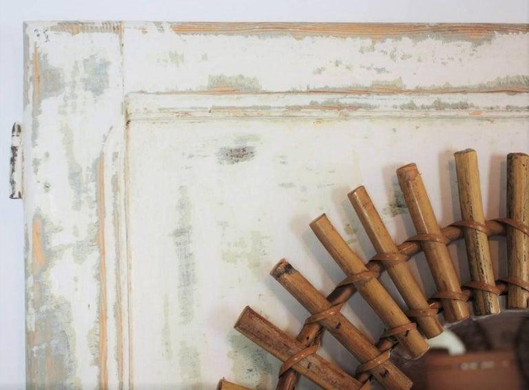 Sunburst Mirror on an Antique Door with Original Patina / Trumeau Mirror For Sale 4