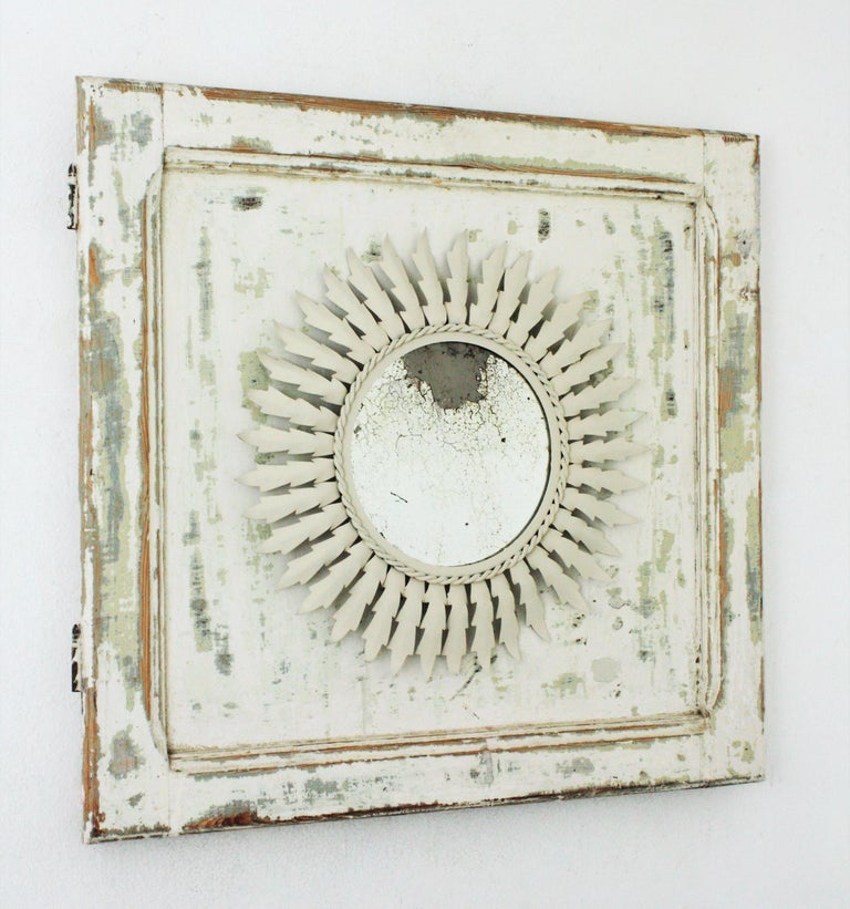 Mid-Century Modern Sunburst Mirror on an Antique Door with Original Patina / Trumeau Mirror For Sale