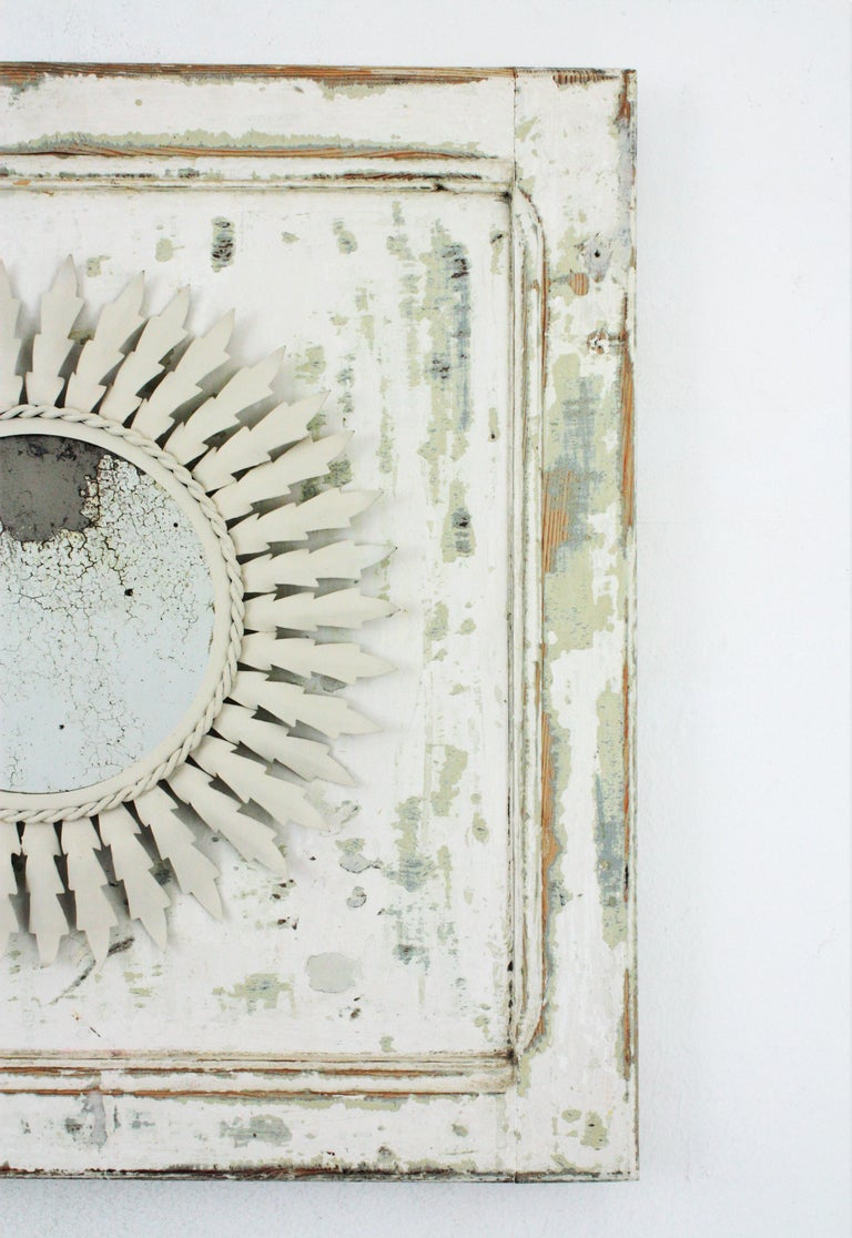 Painted Sunburst Mirror on an Antique Door with Original Patina / Trumeau Mirror For Sale