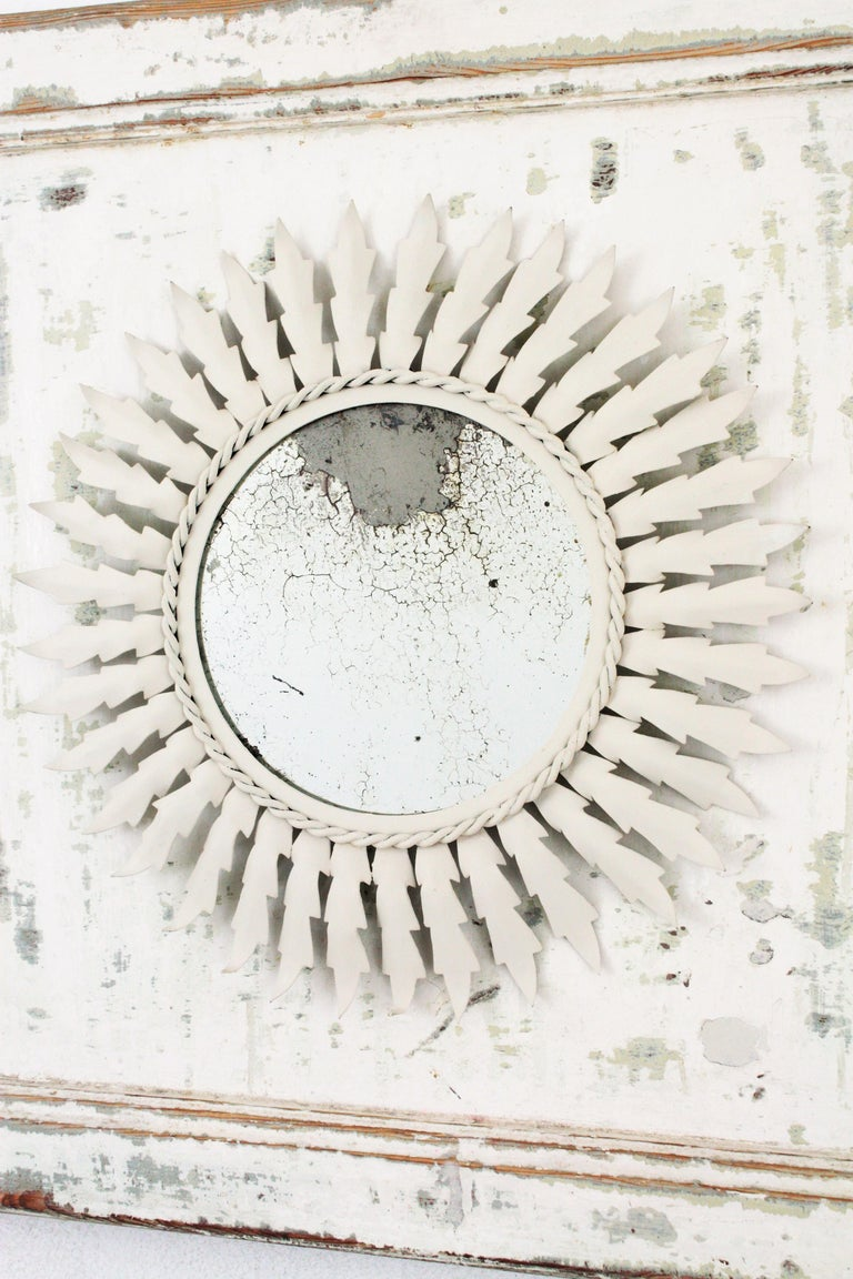 Sunburst Mirror on an Antique Door with Original Patina / Trumeau Mirror In Good Condition For Sale In Barcelona, ES