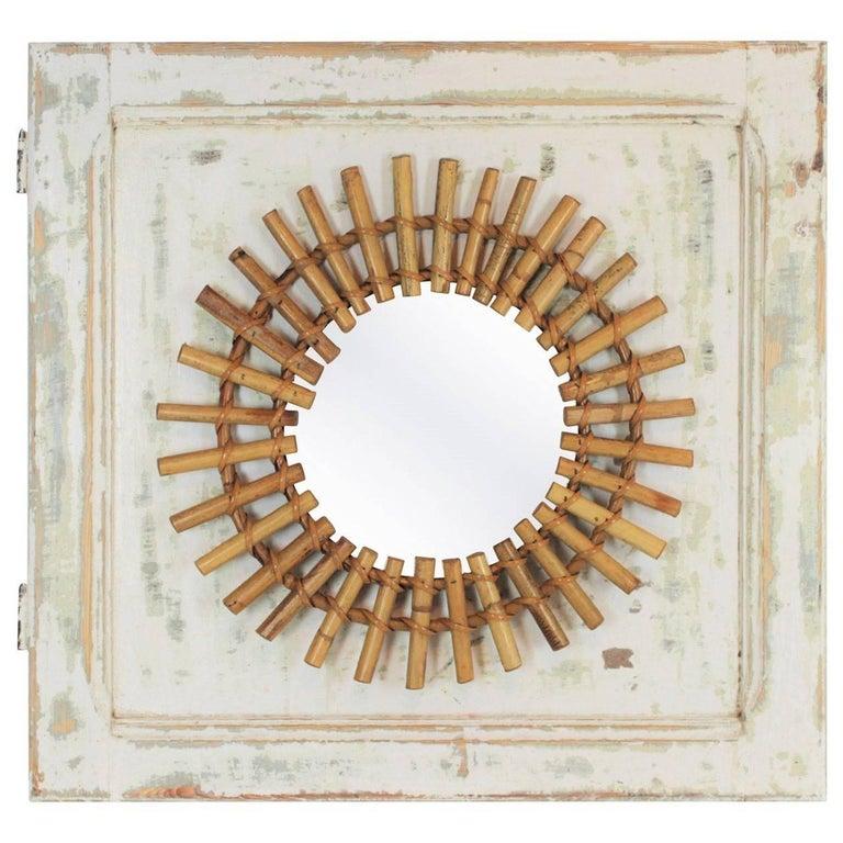 Metal Sunburst Mirror on an Antique Door with Original Patina / Trumeau Mirror For Sale