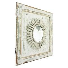 Sunburst Mirror on an Antique Door with Original Patina / Trumeau Mirror