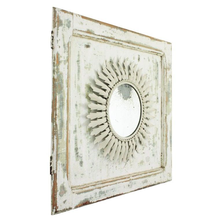 Sunburst Mirror on an Antique Door with Original Patina / Trumeau Mirror For Sale