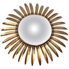 Sunburst Mirror with Convex Mirror Made by Factory Deknudt in Belgium, 1950s