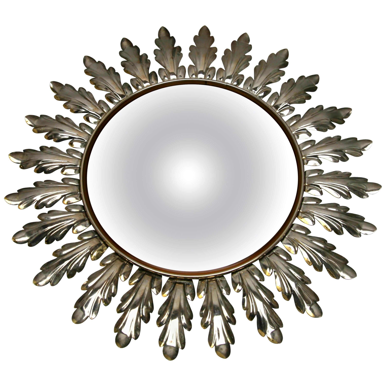 Sunburst Mirror with Convex Mirror Made by Factory Deknudt in Belgium, 1950s