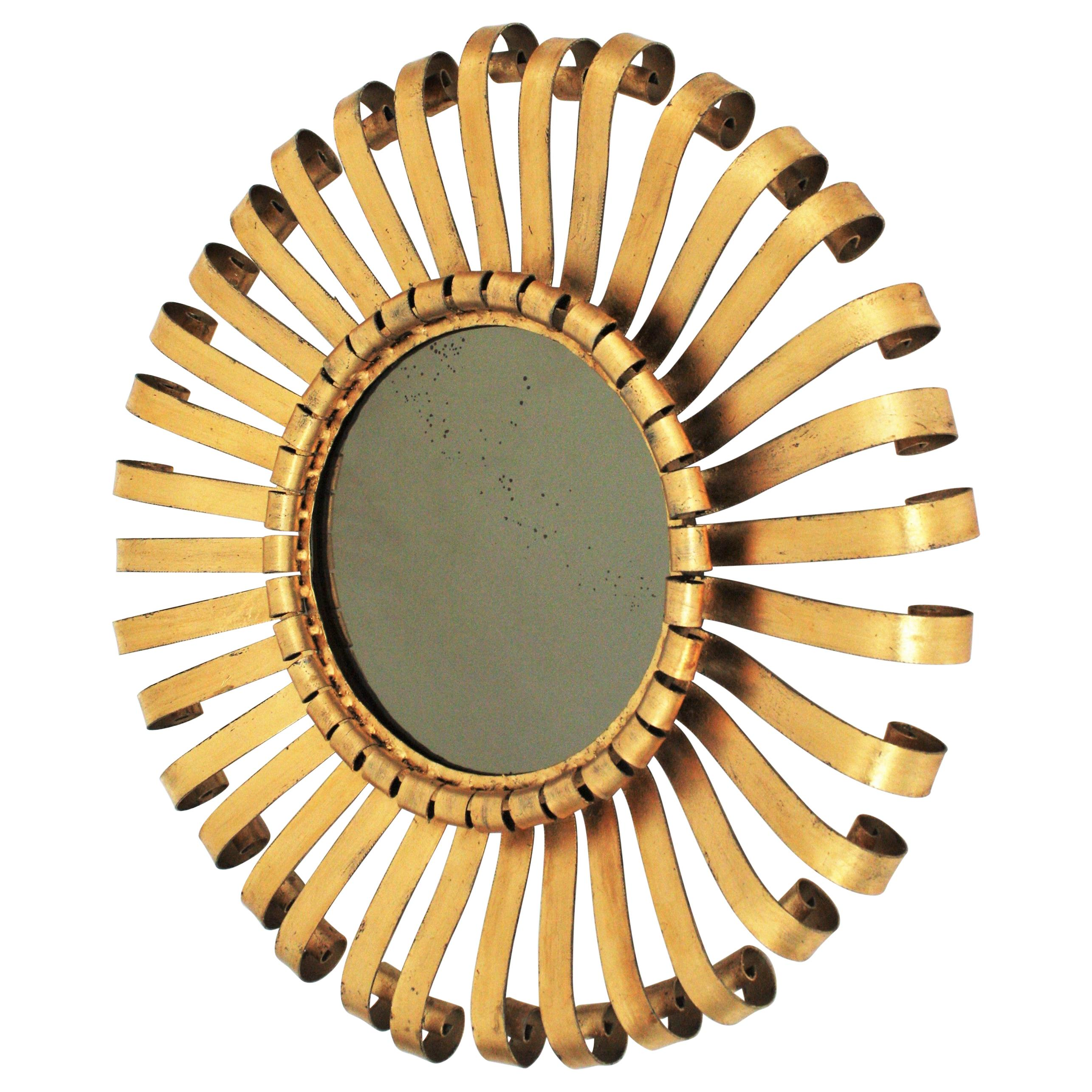 Sunburst Mirror in Gilt Iron with Scrolled Frame, 1960s
