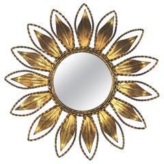 Sunburst Mirror with Iron Rope Details