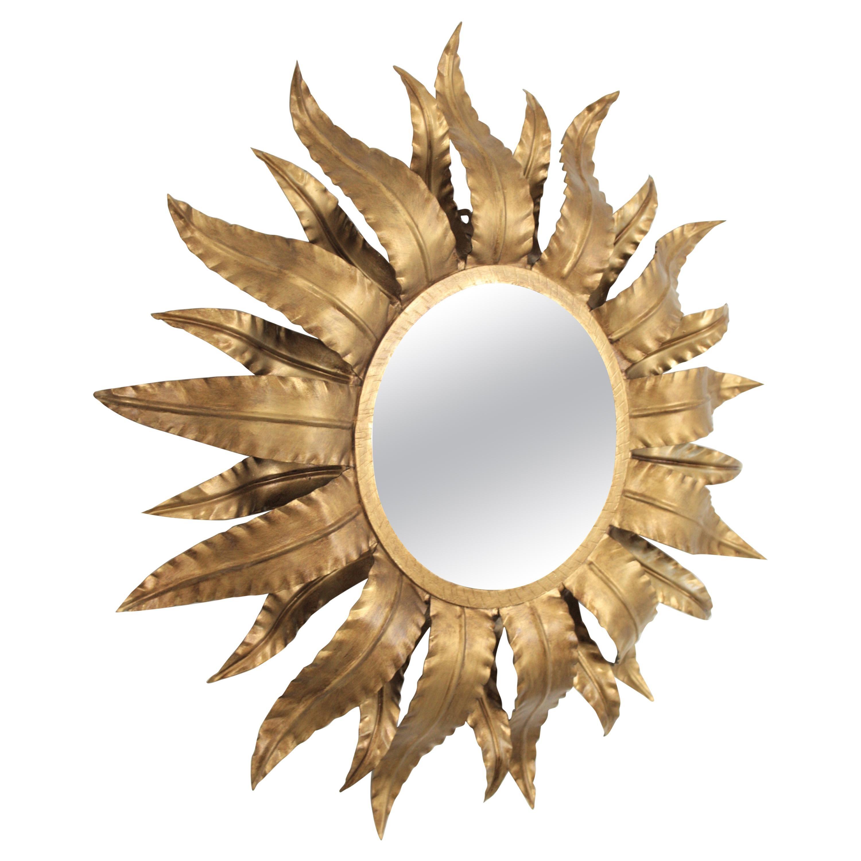 Sunburst Mirror with Leafed Frame in Gilt Metal