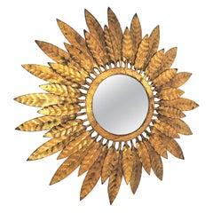 Sunburst Mirror with Leafed Frame, Gilt Iron