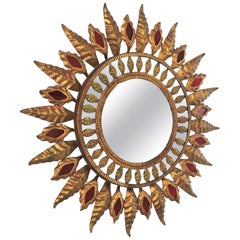 Sunburst Mirror with Red Glass Details in Gilt Iron, Hollywood Regency Style