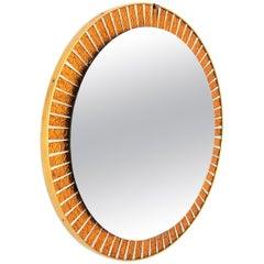 Round Sunburst Orange Glass Mosaic Wall Mirror, Spain, 1960s