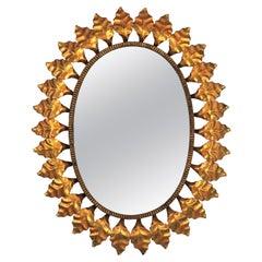 Sunburst Oval Mirror in Gilt Iron