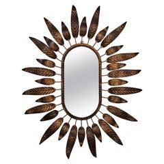 Sunburst Oval Mirror with Leafed Frame in Bronze Gilt Metal