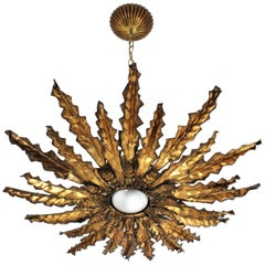 Sunburst Pendant Chandelier or Flushmount, Gilt Iron