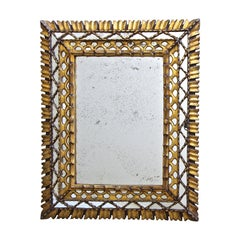 Sunburst Rectangle Giltwood Spanish Colonial Wall Mirror