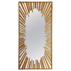 Sunburst Rectangular Mirror with Radiation Pattern in Gold Leaf, Available Now