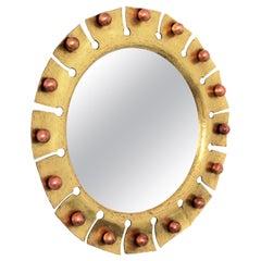 Sunburst Round Mirror in Brass with Copper Balls Accents