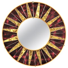 Sunburst Round Mirror with Burgundy and Golden Glass Mosaic Frame, 1960s