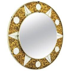 Sunburst Round Mirror with Golden and Silver Glass Mosaic Frame