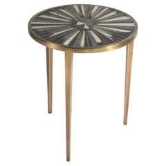 Sunburst Side Table in Shagreen, Shell and Bronze-Patina Brass by R&Y Augousti