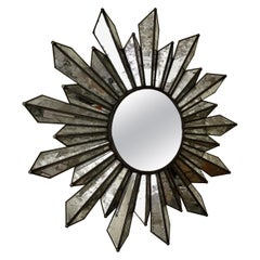 Sunburst Soleil Mirror with Angled Antiqued Mirror Rays